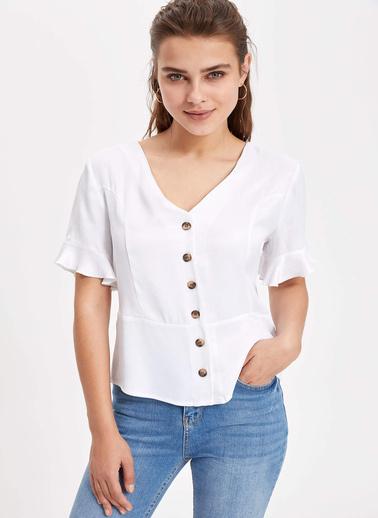 DeFacto Kol Ucu Volanlı Düğmeli Bluz Beyaz